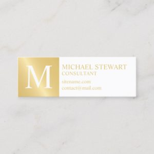 White and Gold Elegant Monogram Mini Business Card