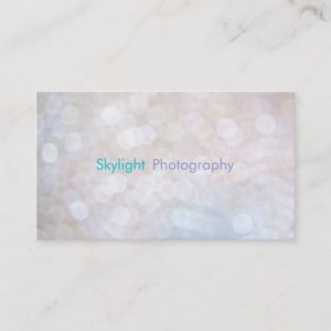 White & Blue Bokeh Photography Business Cards