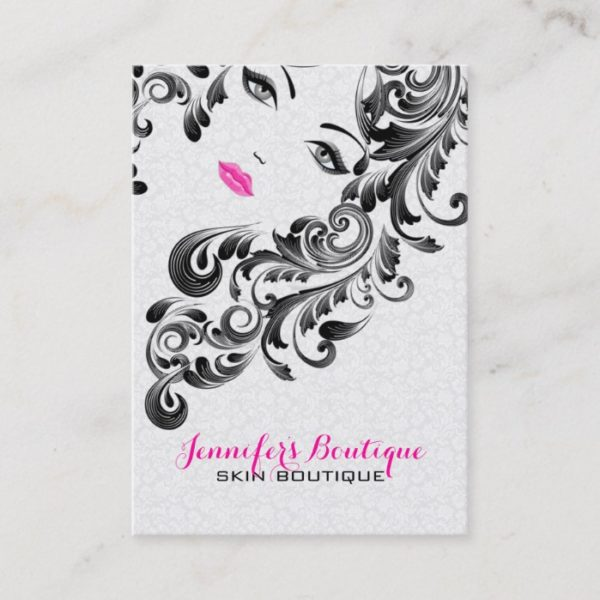 White Pink And Black Beauty Face Monogram 3 Business Card
